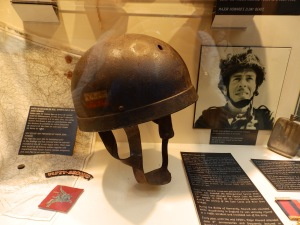 Major John Howard's helmet was hit by a sniper's bullet which grazed the top of his skull