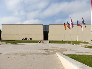 Outside Mémorial de Caen waiting for the group